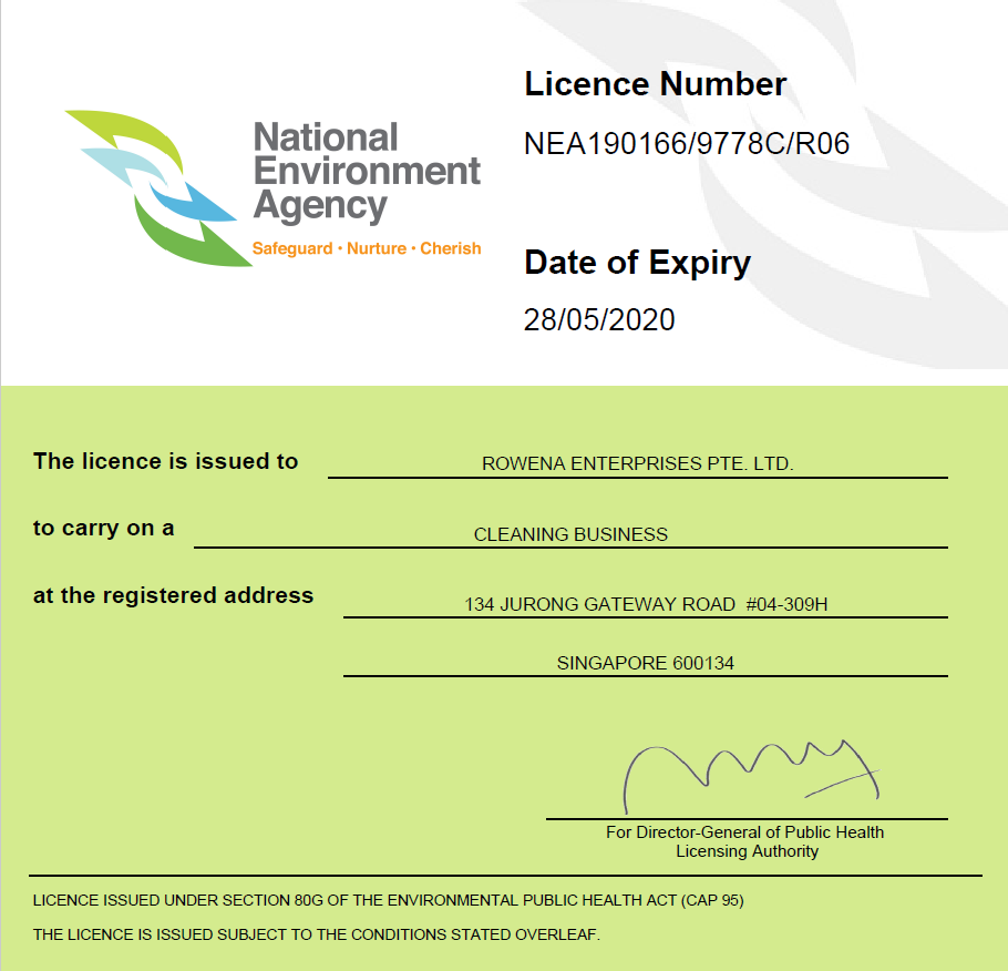 cleaning licence 28-05-2020
